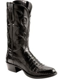 Lucchese Handcrafted 1883 Black Crocodile Belly Cowboy Boots - Round Toe, , hi-res
