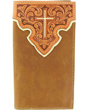 Nocona Tooled Leather Overlay w/ Cross Inlay Rodeo Wallet, Brown, hi-res