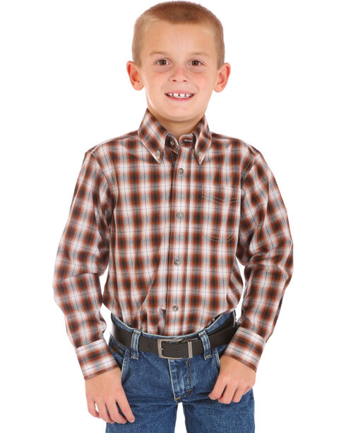 Wrangler Boys' Assorted Plaid Long Sleeve Shirt, Multi, hi-res