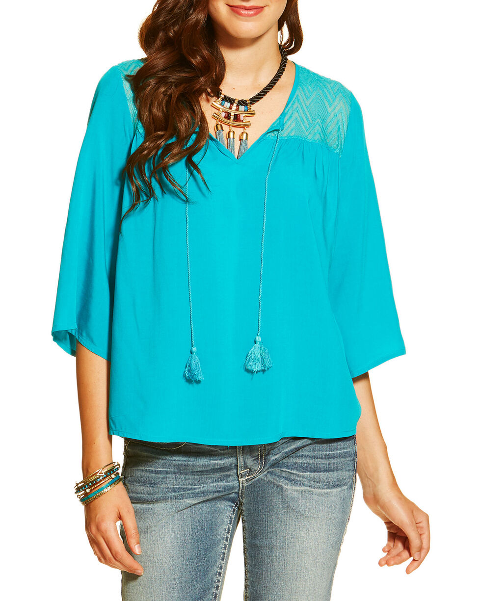 Ariat Women's Garland Tunic, Turquoise, hi-res
