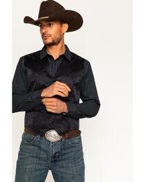 Cody James Men's Black Paisley Print Western Vest , , hi-res