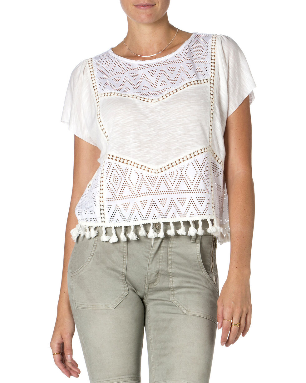 Miss Me Off-White Short Sleeve Tassel Top , Off White, hi-res
