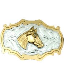 Western Express Men's Horsehead German Silver Belt Buckle , , hi-res