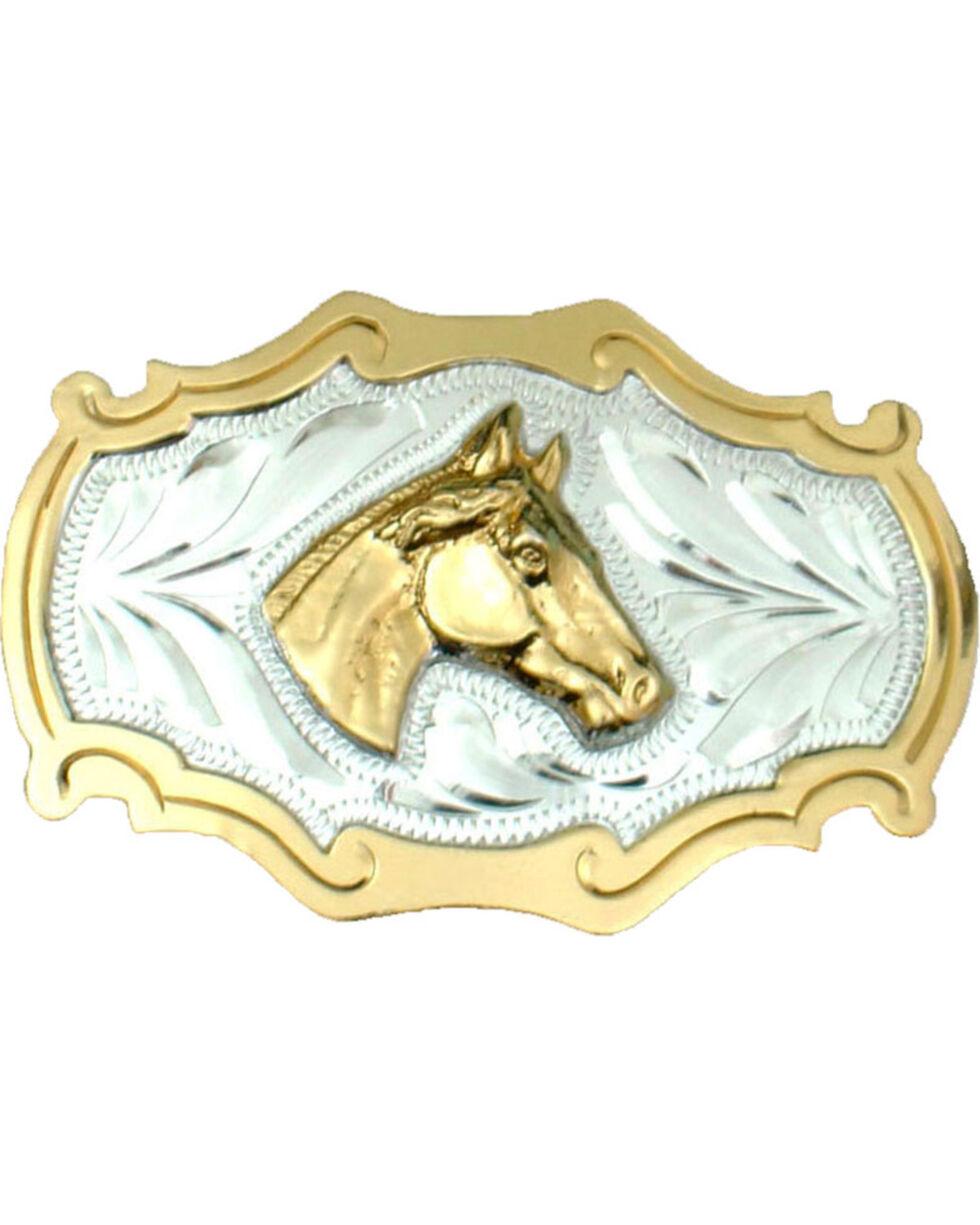 Western Express Men's Horsehead German Silver Belt Buckle , Silver, hi-res