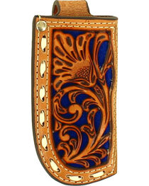 Nocona Floral Tooled Blue Inlay Leather Knife Sheath , , hi-res