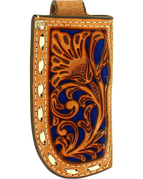 Nocona Floral Tooled Blue Inlay Leather Knife Sheath , Natural, hi-res