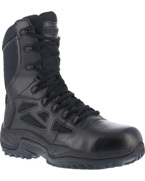 "Reebok Women's Stealth 8"" Lace-Up Black Side-Zip Work Boots - Composition Toe, Black, hi-res"