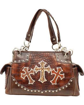 Blazin' Roxx Women's Faux Gator Skin Cross Handbag, Brown, hi-res