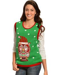Lisa International Christmas Owl Light Up Sweater Vest, , hi-res