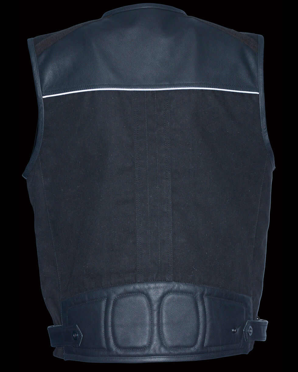 Milwaukee Leather Men's Leather & Canvas Zipper Front Super Utility Multi Pocket Vest - 3X, Black, hi-res