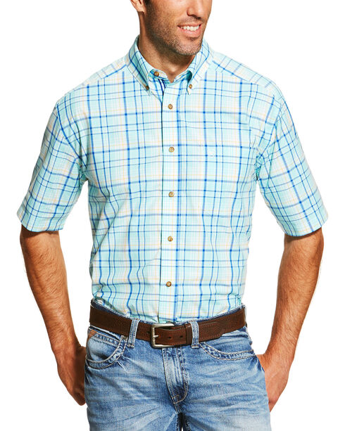 Ariat Men's Blue Ivan Short Sleeve Shirt , Blue, hi-res