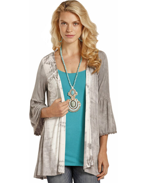 Rock & Roll Cowgirl Women's Grey Tie Dye Cardigan , Grey, hi-res