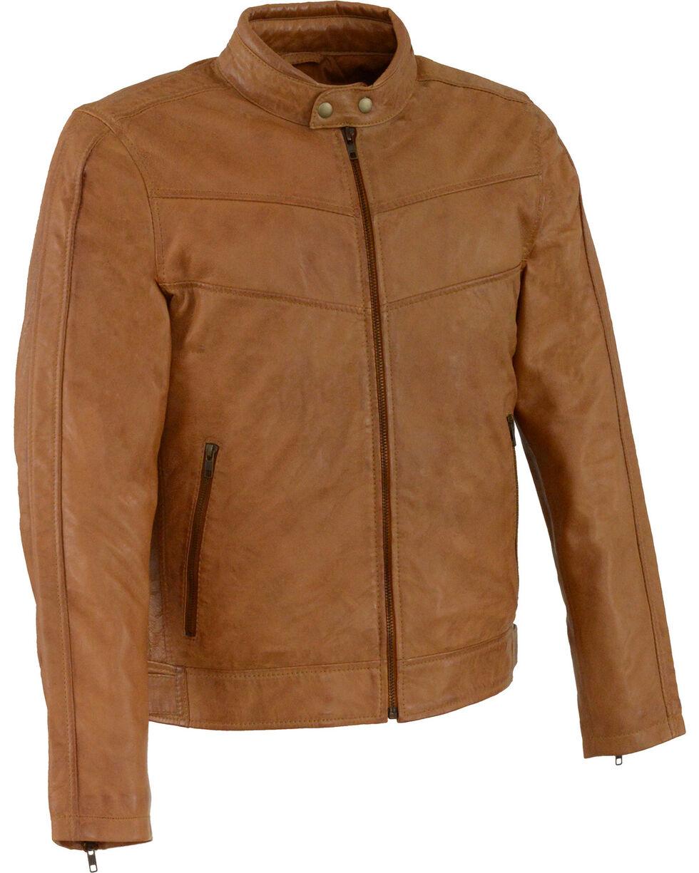 Milwaukee Leather Men's Tan Stand Up Collar Leather Jacket - 3X Big , Tan, hi-res