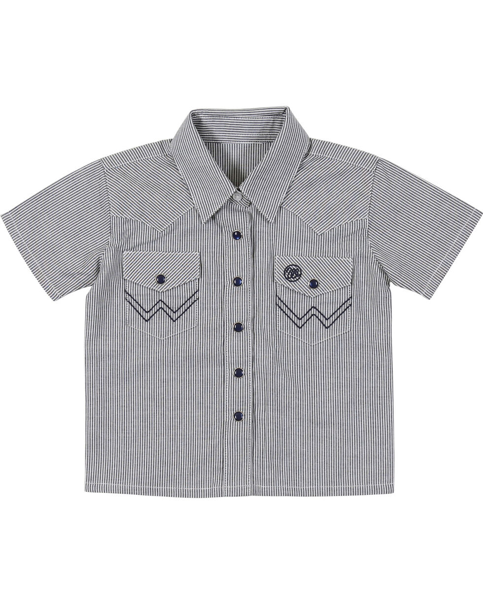 Wrangler Infant Boys' Blue Western Yoke Snap Short Sleeve Shirt, , hi-res
