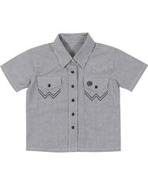 Wrangler Toddler Boys' Blue Western Yoke Snap Short Sleeve Shirt, , hi-res