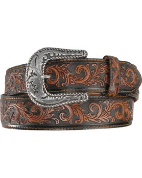 Tony Lama Scottsdale Classic Tooled Western Belt, Black, hi-res