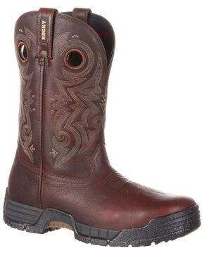 Rocky Men's Mobilite Composite Toe Waterproof Western Work Boots, Brown, hi-res