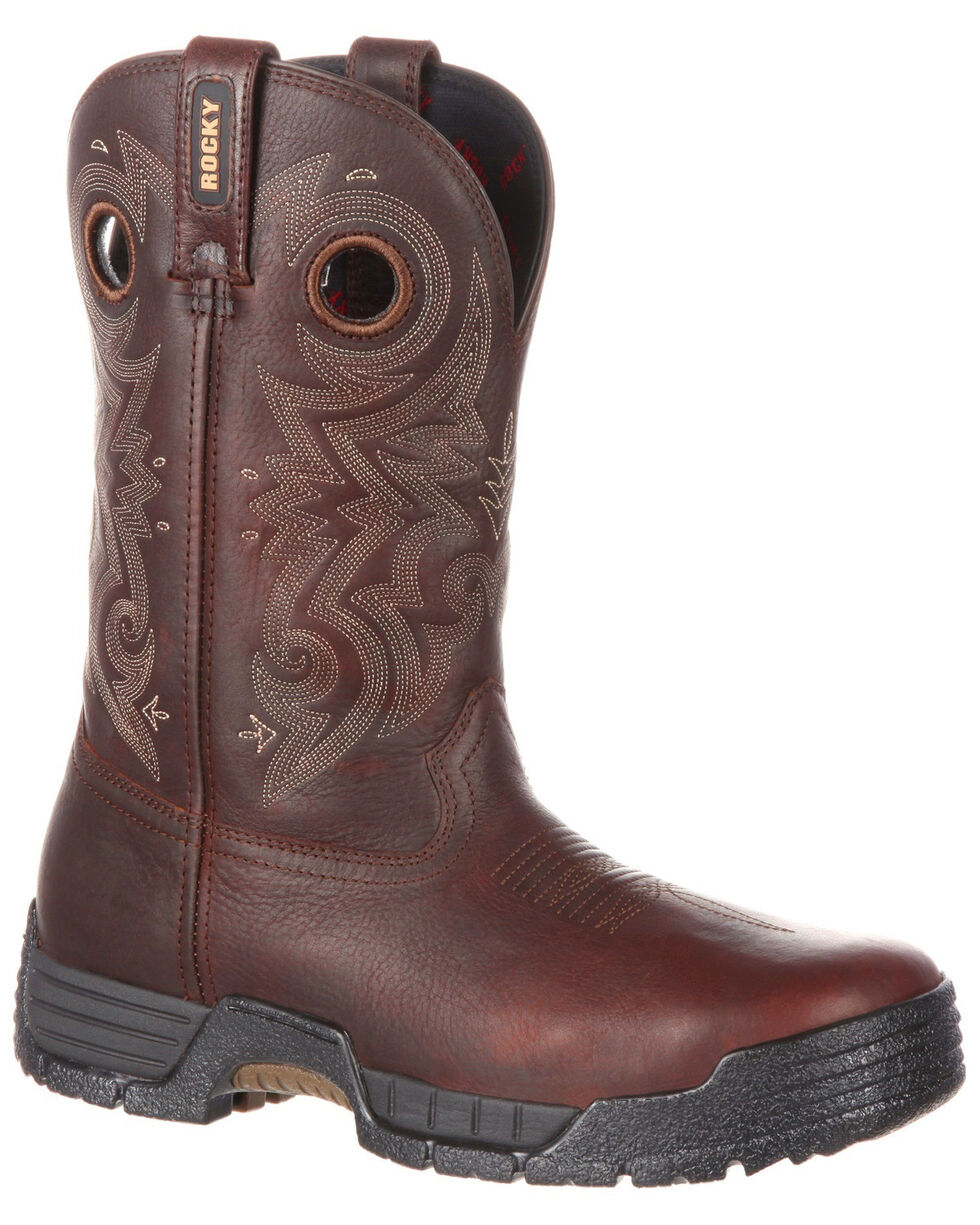 Rocky Men's Mobilite Composite Toe Waterproof Western Work Boots, Brown, hi-res