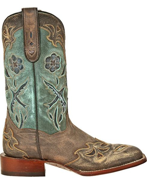 Dan Post Women's Cowgirl Certified Blue Bird Square Toe Western Boots, Copper, hi-res