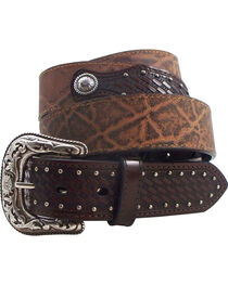 Roper Men's Elephant Print Basketweave Leather Concho Belt, , hi-res