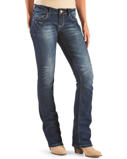 Grace in LA Women's Indigo Simple Pocket Jeans - Boot Cut , Indigo, hi-res