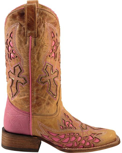 Corral Women's Square Toe Wing and Cross Inlay Western Boots, Antique Saddle, hi-res