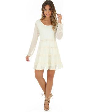 Wrangler Women's Crochet Back Long Sleeve Dress, Cream, hi-res