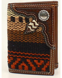Nocona Fabric Rawhide Knot Concho Tri-Fold Wallet, , hi-res