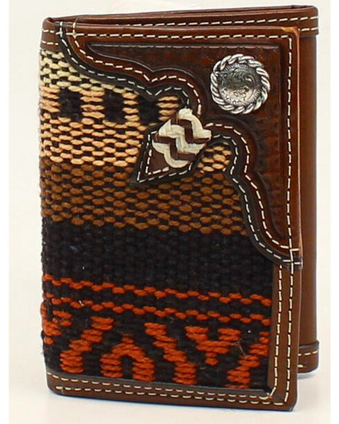 Nocona Fabric Rawhide Knot Concho Tri-Fold Wallet, Multi, hi-res
