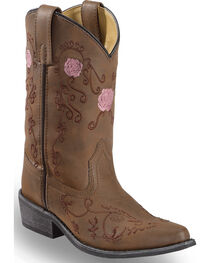 Shyanne Girls' Floral Embroidered Western Boots - Pointed Toe, , hi-res