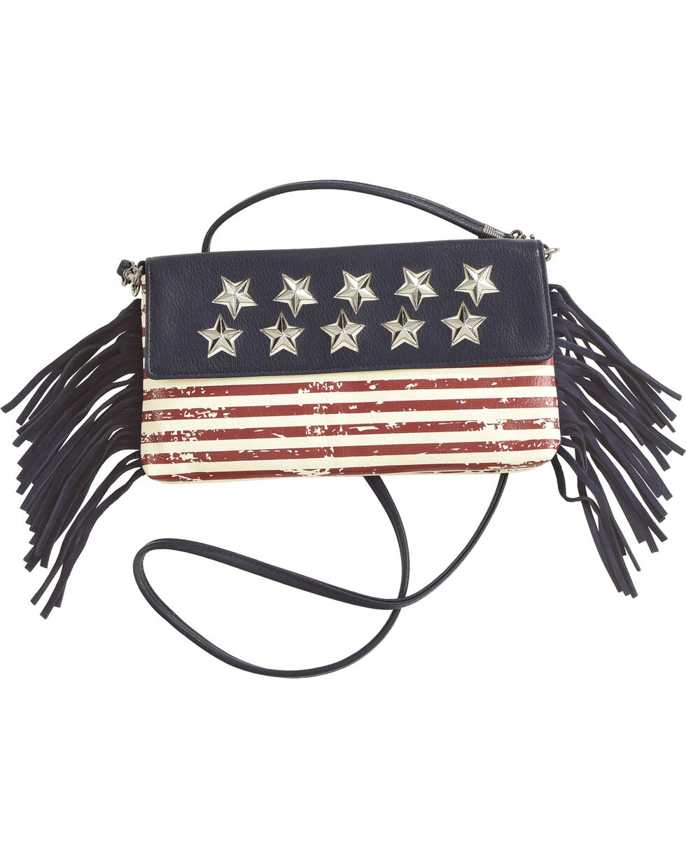 Shyanne® Women's American Flag Crossbody Bag, Blue, hi-res