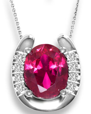 Kelly Herd Women's Red Solitaire Horseshoe Pendant Necklace , Red, hi-res