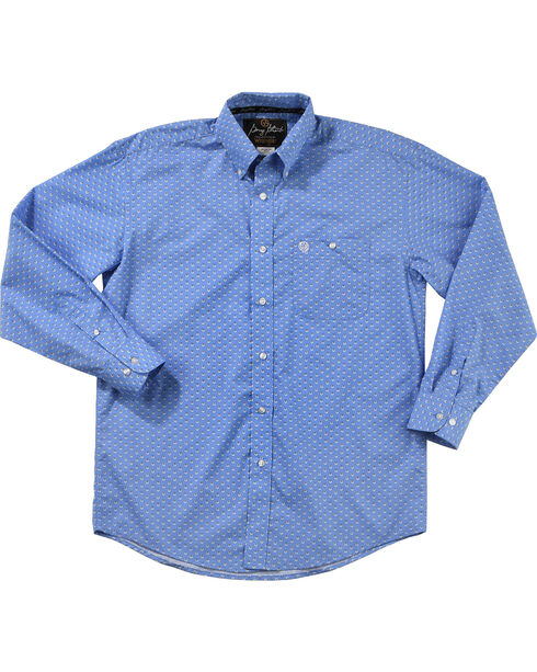 Wrangler George Strait Men's Bluegrass Long Sleeve Button Down Shirt, Blue, hi-res