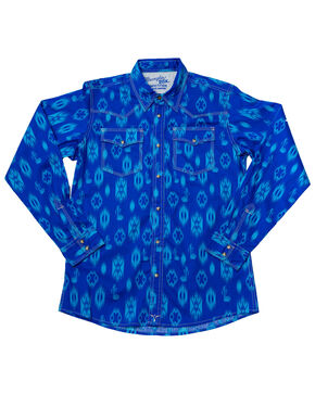 Wrangler Boys' Blue 20X Advanced Comfort Aztec Print Shirt , Blue, hi-res