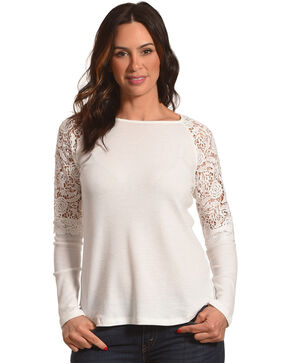 Cowgirl Up Women's Lace Shoulders Long Sleeve Top, , hi-res