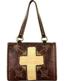 Montana West Spiritual Collection Cross Vintage Print Handbag, Brown, hi-res