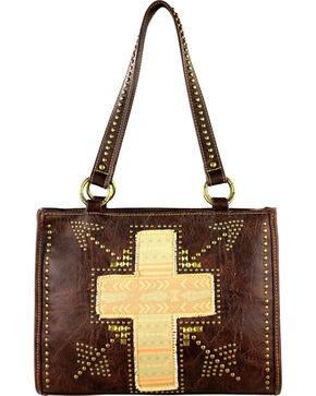 Montana West Spiritual Collection Cross Vintage Print Handbag, Brown, hi-res