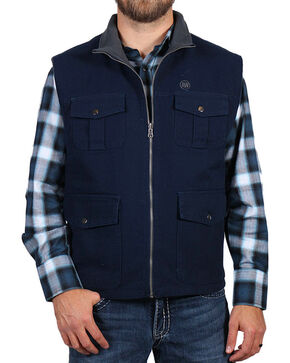 American Worker® Men's Fleece Lined Canvas Vest, Navy, hi-res
