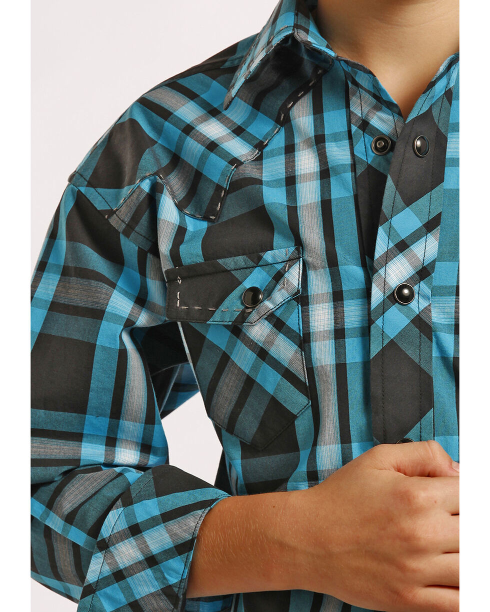 Rock and Roll Cowboy Boys' Ombre Plaid Snap Western Shirt , Plaid, hi-res
