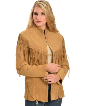 Scully Women's Fringe Jacket, Tan, hi-res