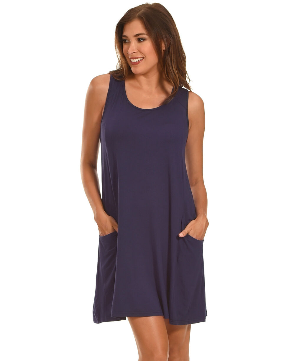 Polagram Women's Navy Lace Up Back Tank Dress , Navy, hi-res