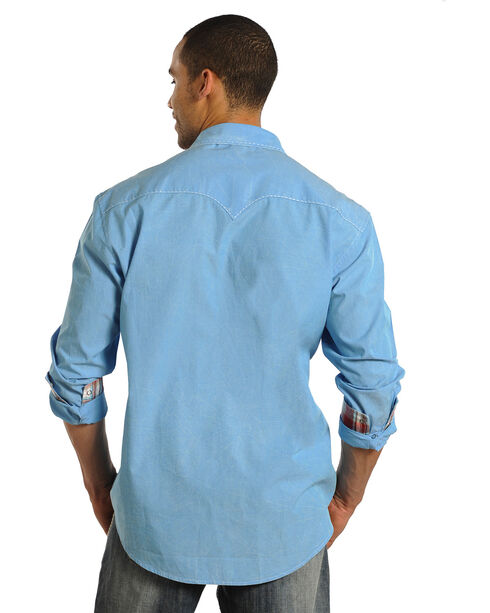 Rock & Roll Cowboy Men's Long Sleeve Western Shirt, Turquoise, hi-res