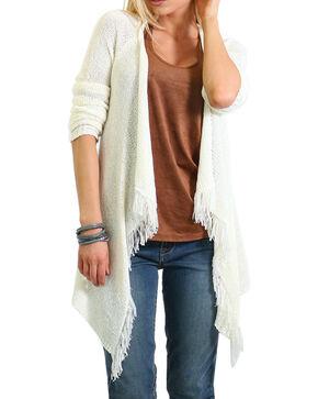 Shyanne Women's Fringe Hem Knit Sweater, No Color, hi-res