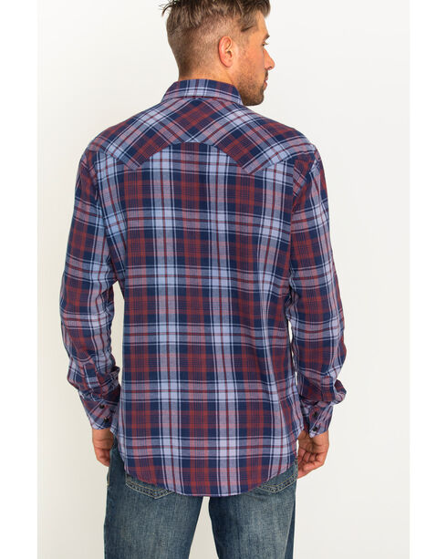 Rock & Roll Cowboy Men's Bleached Wash Flannel Plaid Snap Shirt, Multi, hi-res