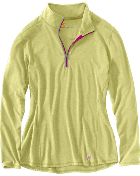 Carhartt Women's Force Performance Quarter-Zip Shirt, Yellow, hi-res
