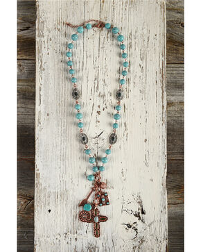 Shyanne Women's Beaded Copper Charm Necklace, Turquoise, hi-res