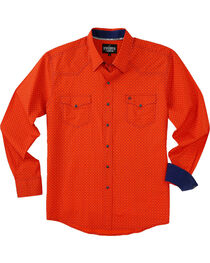 Garth Brooks Sevens by Cinch Men's Orange Marble Snap Long Sleeve Shirt , , hi-res
