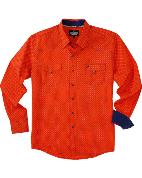 Garth Brooks Sevens by Cinch Men's Orange Marble Snap Long Sleeve Shirt , Orange, hi-res