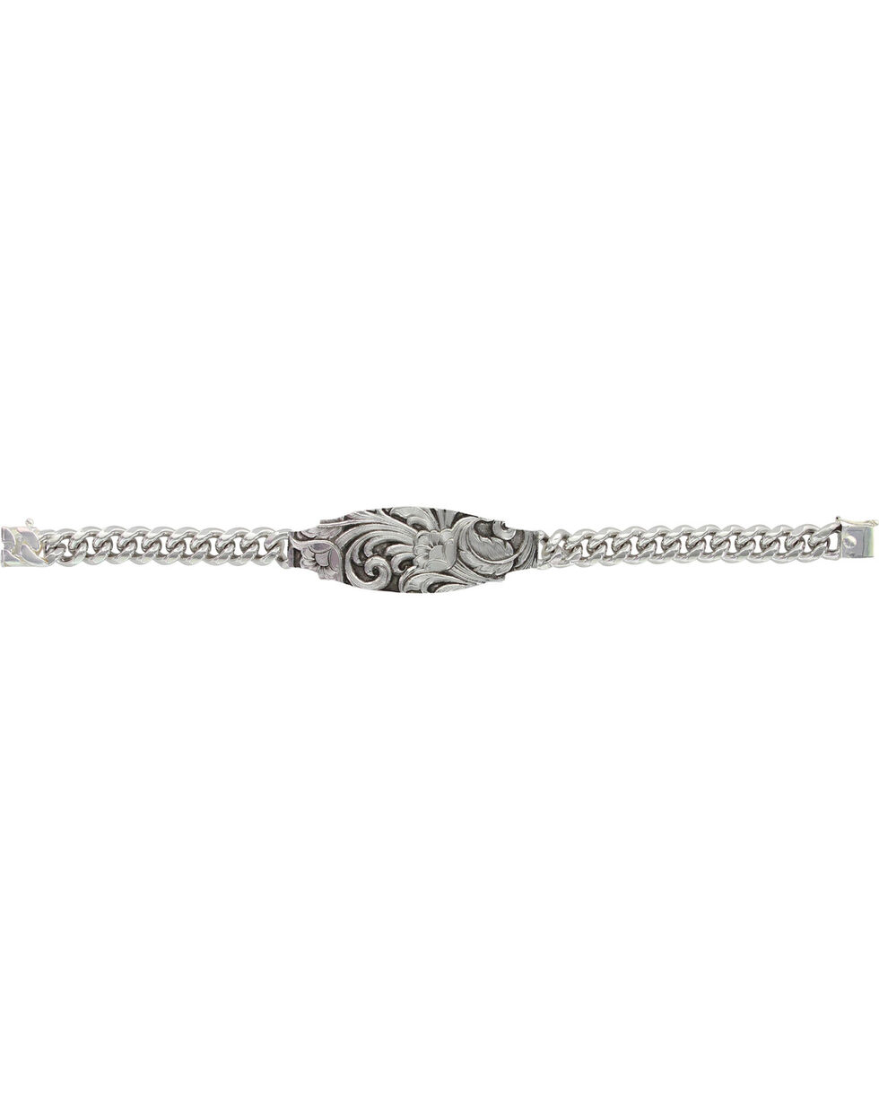 Montana Silversmiths Glimpse of LeatherCut Floral Scroll ID Style Bracelet, Silver, hi-res
