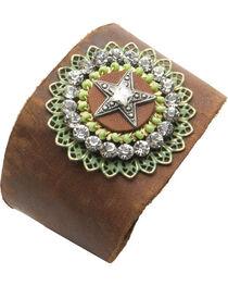 Cowgirl Confetti Leather Rhinestone Star Cuff, , hi-res
